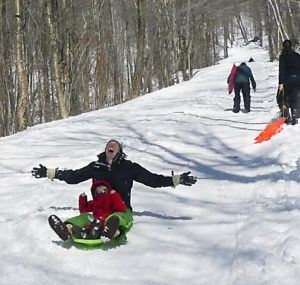 sledding in Smugglers Notch